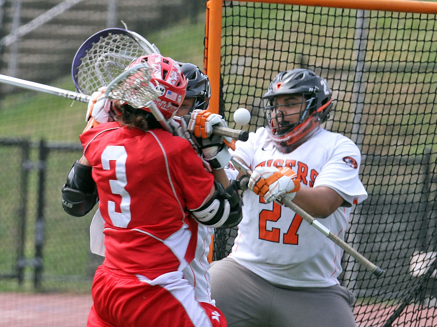 White Plains goalie James Magana makes save on North Rockland's Tyler Senatore during a Section 1 Class A quarterfinal at White Plains High School May 16, 2015.