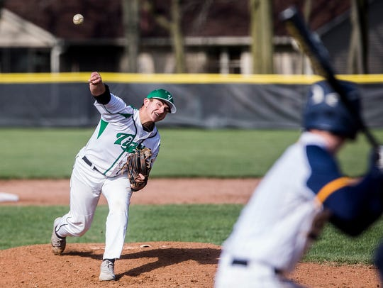 Yorktown's Dominic Cantanzarite pitches against Delta