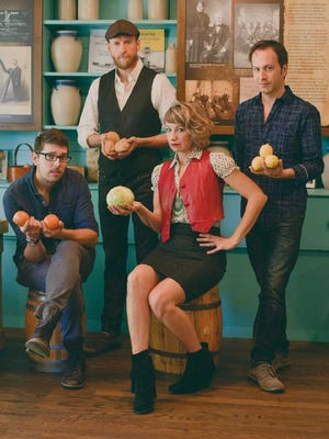 Hey Mavis band members are Anthony Taddeo (drums), from left, Eddie Caner (violin/fiddle), Laurie Michelle Caner (banjo) and Bryan Thomas (bass).