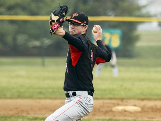 Palmyra's Bobby Dorta pitches during a 2-0 loss to Middletown on Friday, April 10, 2015. Dorta threw a two-hitter in the first round of the District Three Class AAA tournament on Monday, a 1-0 win over West Perry.