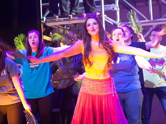 Isabel Nesti, as Mary Magdalene, and other actors rehearse for the Totem Pole Playhouse production of Jesus Christ Superstar on Thursday evening, March 22, 2018. Showtimes are 7 p.m. Friday, March 23 and 2 and 7 p.m. Saturday, March 24, and Sunday, March 25, at Capitol Theatre.