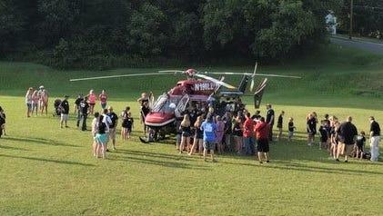 A Mercy Flight visits the Groton Fire Dept. Junior Firefighter camp.