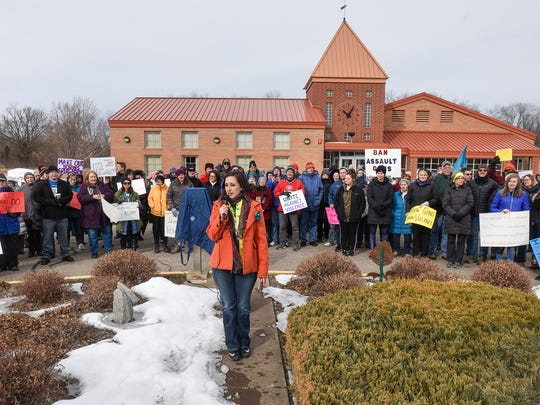 Event organizer Angie Trulson speaks at the start of the March For Our Lives event Saturday, March 24, in Sartell.