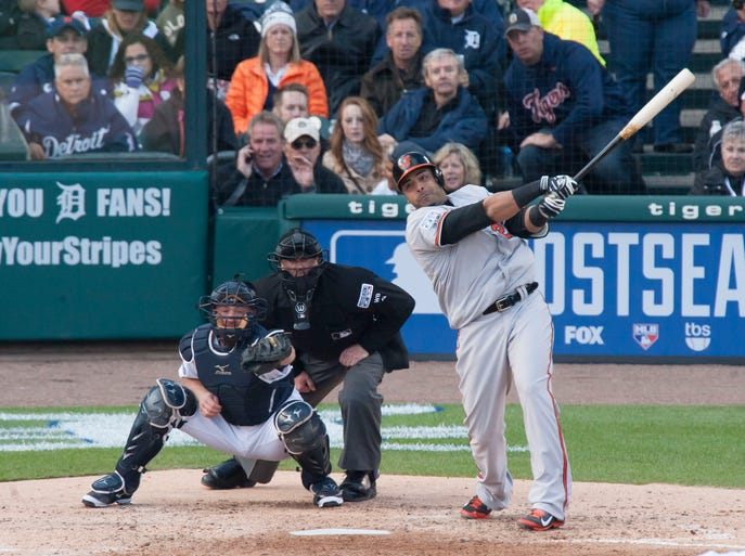 Baltimore designated hitter Nelson Cruz hits a two-run home run in the sixth inning. It proved the difference in a 2-1 loss in Game 3 of the ALDS that swept the Tigers out of the postseason on Sunday, October 5, 2014.