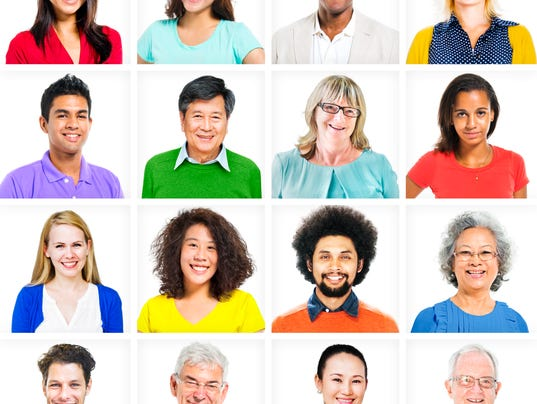 A grid of many multiethnic diverse men and women of all ages