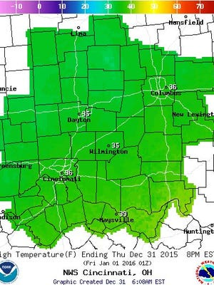The National Weather Service issued Thursday morning an advisory for patchy, freezing rain throughout Greater Cincinnati. An updated weather map shows the high temperatures throughout the region for Thursday.