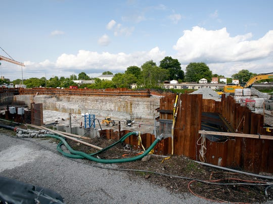 Construction of the Logan St. retention basin.May 21, 2016