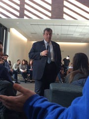 Chris Christie answers questions Friday during a town hall at Drake University.