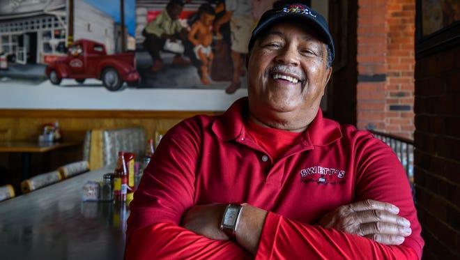 Swett's Restaurant owner Davide Swett stands in his restaurant before lunch is served  Monday Feb. 13, 2017, in Nashville, Tenn.