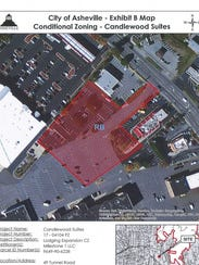 City of Asheville planning documents show a five-story,