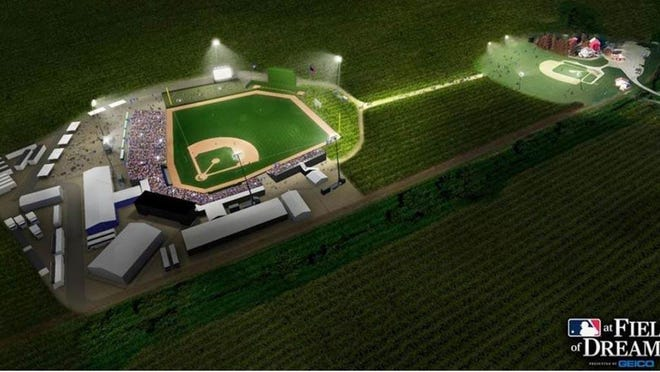 An artist's rendering of the Field of Dreams (right) and the baseball stadium to be built for the Cardinals-White Sox game in August 2020.