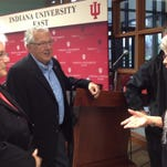 State Rep. Tom Saunders talks with Indiana University East Chancellor Kathy Cruz-Uribe, left, and Barbara Sha Cox of Richmond before a 2014 IU East Alumni Association Legislative Forum.