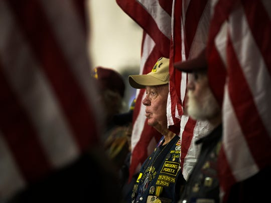 "Butch ""Turtle"" Cone, an Air Force veteran and the deputy state captain of the South Texas Patriot Guard Riders stands Thursday, Dec. 7, 2017, during a Pearl Harbor remembrance ceremony at the Lexington Museum on the Bay. The ceremony honored those who died in the 1941 surprise attack at Pearl Harbor."