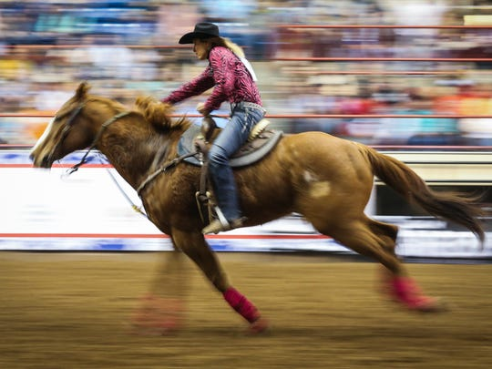 Sabrina Devers races the barrels during the 2018 San Angelo Stock Show & Rodeo.