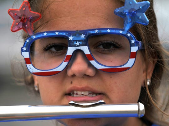 Kallie Campbell, a junior at Cooper High School, practices with the Awesome Cooper Band Aug. 8, 2017. For the day, band members came dressed with a patriotic theme in mind.