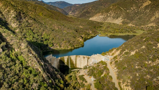 This photograph shows Matilija Dam late in 2017. Money from Proposition 3 on the November ballot would help pay to remove the dam near Ojai.
