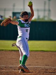 Breckenridge pitcher Alyssa Reyes throws a first-inning pitch in Friday's 15-9 win over Peaster. Reyes is a part of a corps group of young players leading to a resurgence in Breck softball.