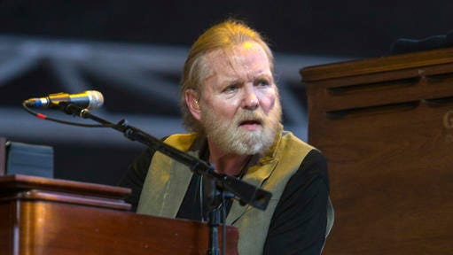 "FILE - In this April 25, 2015 file photo, Gregg Allman performs during the 2015 Stagecoach Festival in Indio, Calif. Allman has cancelled or rescheduled his shows throughout 2016 and the beginning of 2017 after a vocal cord injury. The 68-year-old musician said in a statement posted on his website Tuesday, Nov. 8, 2016, he is taking several months off from touring so he can ""focus on his health."""