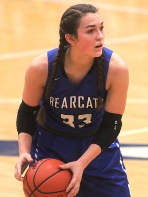 Walton-Verona sophomore Rachel Lehkamp looks for a teammate to pass to.