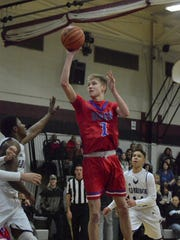 (SPORTS)          12/31/16         Aberdeen Twp, NJ Ocean's Andrew Seager (1) shoots against Old Bridge during the championship game of the Huskies Holiday Classic at Matawan Regional High School on Friday. Frank Galipo/Correspondent ASB 1231 Boys Hoops Roundup G