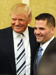 Donald Trump, left, and Dutchess County Executive Marc Molinaro in 2012 at a meeting of county Republicans at the Poughkeepsie Grand Hotel.