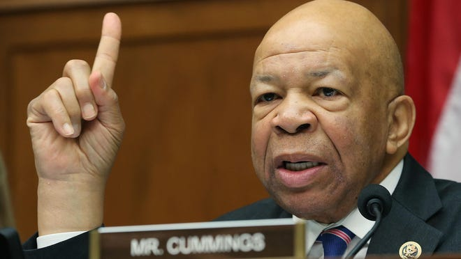 U.S. Rep. Elijah Cummings, ranking Democrat on the House oversight committee, speaks during a hearing about the Flint water crisis in this file photo from March 15, 2016.