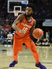 Clemson guard Gabe DeVoe (10) plays against Wake Forest