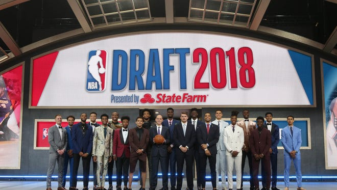 NBA draft prospects pose for a group photo with commissioner Adam Silver before the first round of the NBA draft on June 21, 2018 in Brooklyn.