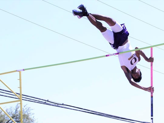 Ozona High School's Roman Esparza won the pole vault Monday, April 16, 2018, at the Districts 7-8 Class 2A Area Meet at Abilene Christian University. Esparza recently signed a letter of intent to run cross country and track for Cameron University in Oklahoma.
