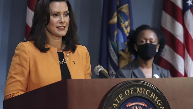 In a photo provided by the Michigan Office of the Governor, Michigan Gov. Gretchen Whitmer addresses the state during a speech in Lansing, Mich., Wednesday, Aug. 19, 2020. Whitmer announced that she will allocate nearly $65 million in federal Coronavirus Aid, Relief, and Economic Security (CARES) Act dollars to Michigan school districts, higher education institutions, and other education-related entities that have been most significantly impacted by the COVID-19 pandemic.