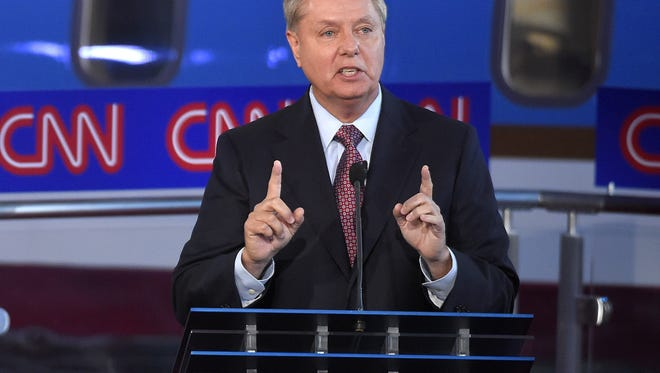 Republican presidential candidate, Sen. Lindsey Graham, R-S.C., answers a question during the CNN Republican presidential debate at the Ronald Reagan Presidential Library and Museum on Wednesday, Sept. 16, 2015, in Simi Valley, Calif.