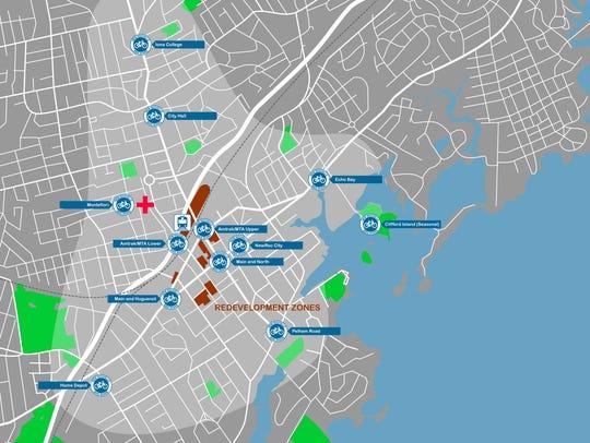 A preliminary map of New Rochelle's bike share program