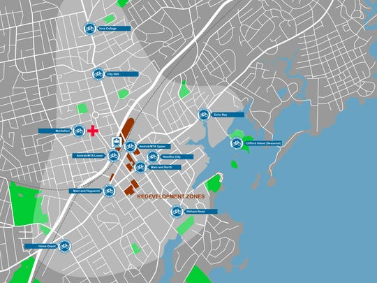 A preliminary map of New Rochelle's bike share program shows 11 stations throughout the city.