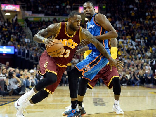 b0e8a13ff0f8 Cavaliers top Thunder after LeBron James plows into crowd