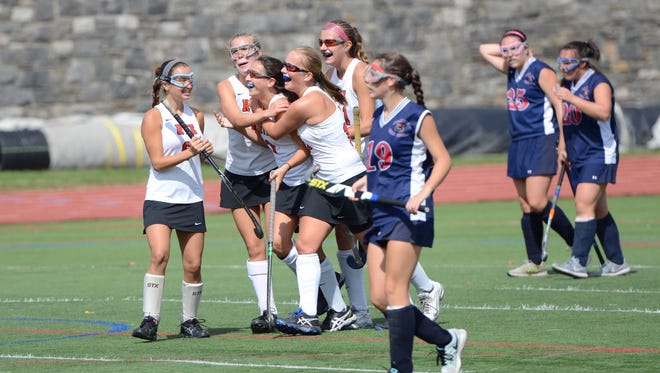 Rye celebrated in their 5-2 win over visiting Byram Hills Saturday