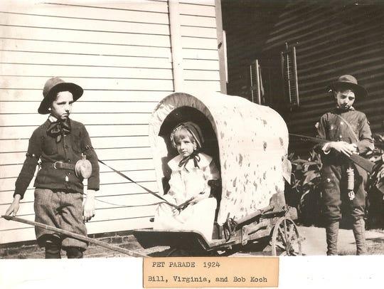 Pet Parade 1924  Bill, Virginia and Bob Koch /Courtesy