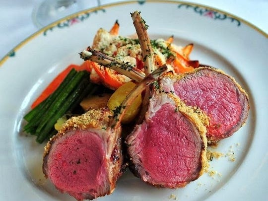 Rack of Lamb dinner at The Grand Cafe in Morristown.