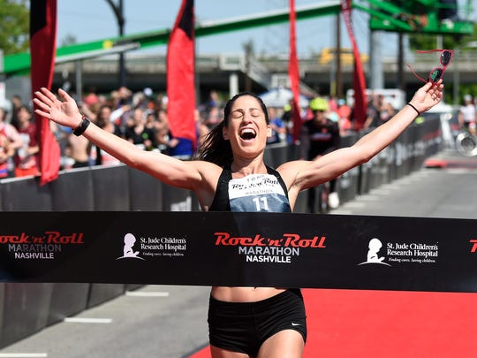 Stella Christoforou wins the women's marathon at the