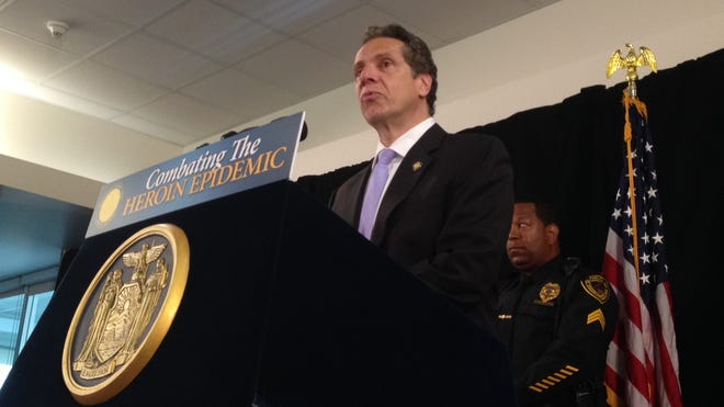 Gov. Andrew Cuomo at Rockland Community College in Ramapo announcing an initiative, which has police adding 100 investigators to combat the rise in heroin use in the state.