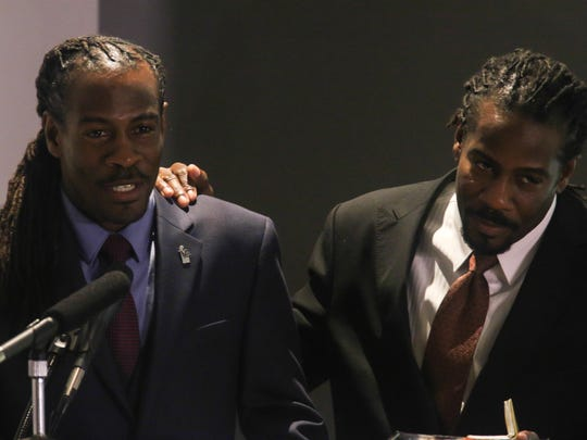 Twin Poets, Nnamdi O. Chukwuocha and Albert Mills, give remarks during the 17th Poet Laureate ceremony.