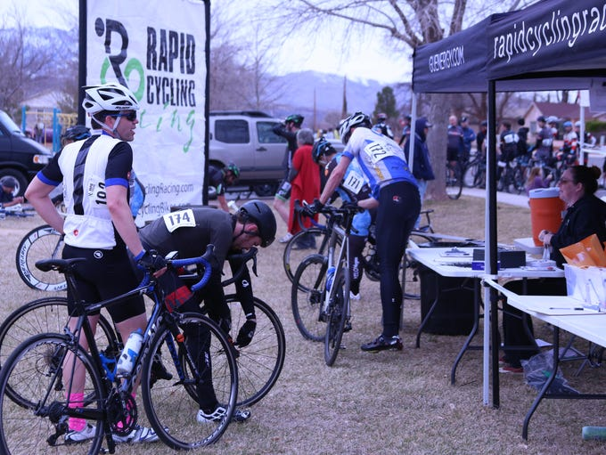 Cyclists check in at the Rapid Cycling Racing registration