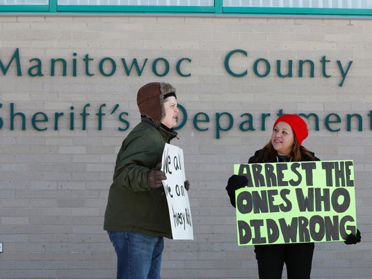 Protesters move to the Manitowoc County Sheriff's Department to speak their mind. Supporters of convicted killer Steven Avery and his nephew, Brendan Dassey, gathered around the Manitowoc County Courthouse to protest on Jan. 29.