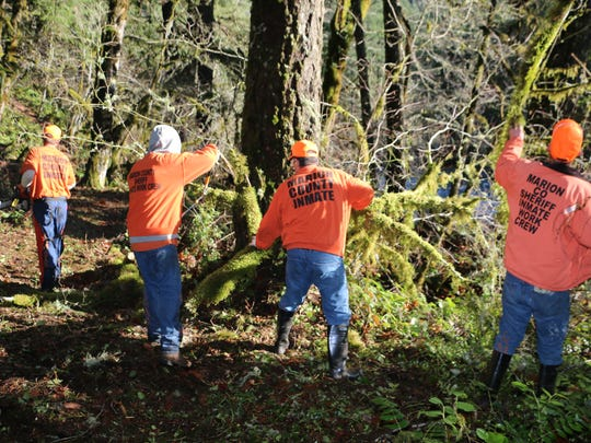 Inmate workers clear trails at Marion County parks.
