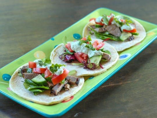Greek-style tacos made with lamb and a mint-yogurt dressing.