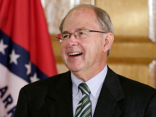 """In this Aug. 25, 2015 file photo, Howard Brill attends a news conference at the Arkansas state Capitol in Little Rock. Interim Chief Justice Howard Brill on Thursday, Feb. 11, cited Cash's song """"Starkville City Jail"""" in a dissent. He said it was wrong for the majority to deny a Benton County man's objection to a $300,000 cash-only bail set in an assault and battery case."""