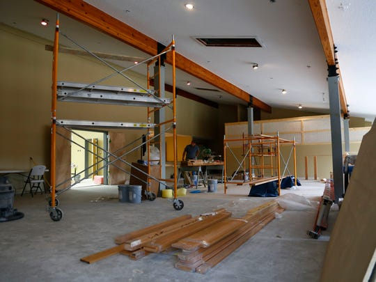 Construction work is still being performed in the main meeting space of the Lucas Community Center on Wednesday.