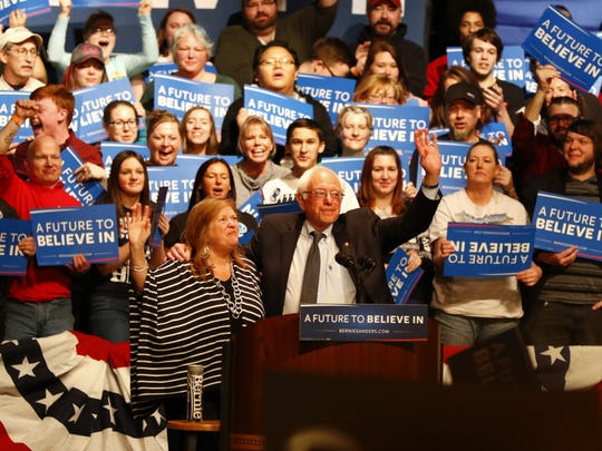 Democrat presidential candidate Bernie Sanders speaks to a crowd of 1,800 people during his Sunday campaign stop at The Grand theater in downtown Wausau.