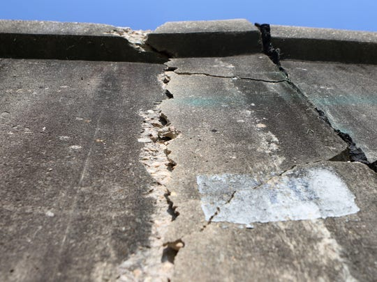 Flooding in March caused a crack to develop in the flood wall near Jack McEnry Avenue and South Grand Street in Monroe.