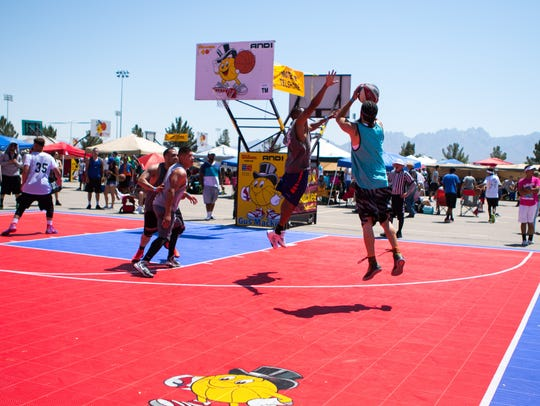 Top Mens bracket action at the Gus Macker 3 on 3 basketball