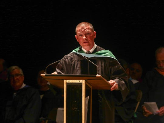 Charter School of Wilmington President Sam Paoli speaks at commencement in 2016.